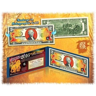 Rare $2 Bill Year of Monkey 2016 Limited Edition