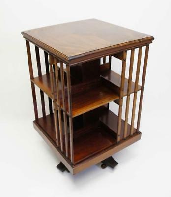 Edwardian 2 tier inlaid Mahogany  revolving bookcase,  excellent condition