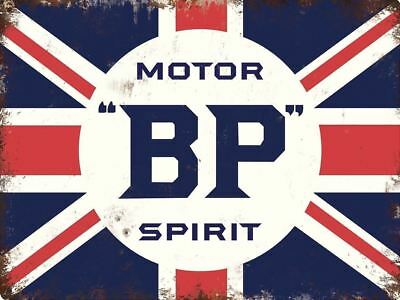 BP Motor Spirit UK GB Retro Metal Aluminium Garage Car Workshop Vintage SIGN wi