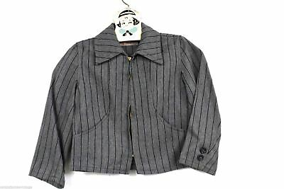 Vintage 1950s Western Railroad Striped Wool Gab Zip Jacket Boys Allen Denver S