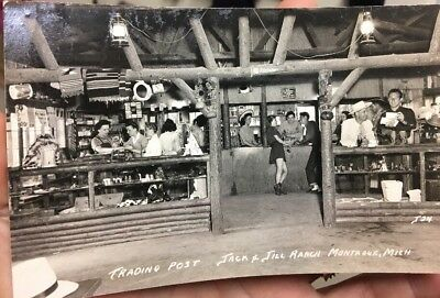 Vintage RPPC Photo Postcard JACK AND JILL RANCH Montague Mich Trading Post