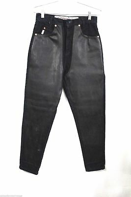 Joujou Vtg Faux Leather/Denim Skinny Jeans Sexy Motorcycle Pants Womens 9/10