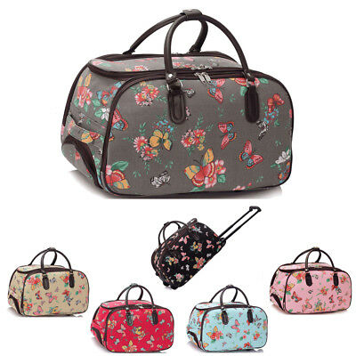 Womens Butterfly Travel Bags Holdall Hand Luggage Ladies Weekend Wheeled Trolley