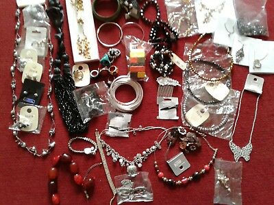 costume jewellery job lot 50 Assortment necklaces earrings bracelets rings NEW