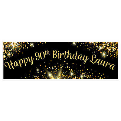 Black And Gold 90th Birthday Banner Party Decoration Backdrop