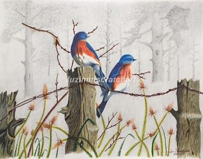 "$30.00 OFF - Nature Bird Barn Swallows  ORIGINAL Pointillism 11""x14""  by LVZimm"