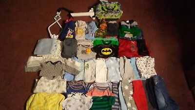 Excellent Lot Of Baby Boy Clothes 50 Pieces Newborn 3-6 Months SLEEPERS ONSIES