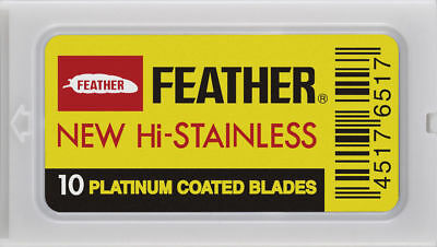 20 FEATHER Hi-Stainless Platinum Double Edge Safety Razor Blades 2 Packs of 10