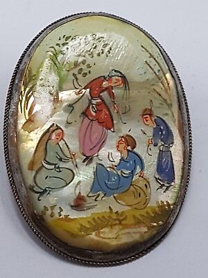 antique Chinese export Brooch with pearl painting / Brosche mit Perlmut Malerei