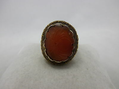 antique chinese export silver Ring with carnelian, hallmarked China Ring Silber