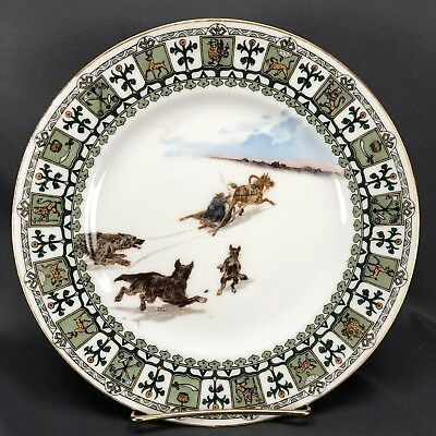 Kornilov Brothers Imperial Russian Hand Painted Horse Drawn Snow Scene Plate