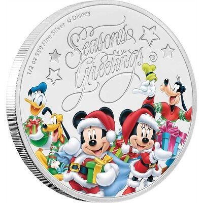 SEASON'S GREETINGS - MICKEY MOUSE & FRIENDS - DISNEY - 2017 1/2 oz Silver Coin