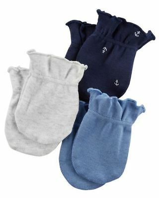 New Carter's Boys 3 Pack Baby Mittens sz 0-3 months NWT 100% Cotton Anchor Blue