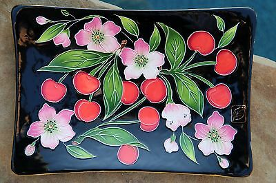 """Blue Sky Cherry Blossom Icing on the Cake 10x7"""" Jeanette McCall Ceramic Tray"""