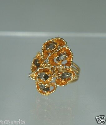 """Vintage Gold Plated Cluster Smoked Topaz Ring Signed """"park Lane"""" Size 5 3/4"""