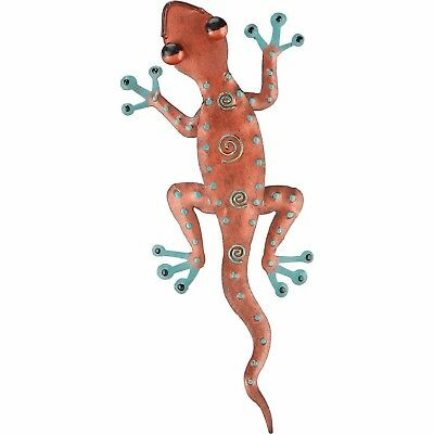 Gecko metal copper wall décor Hand painted Tropical Southwest 11 inches