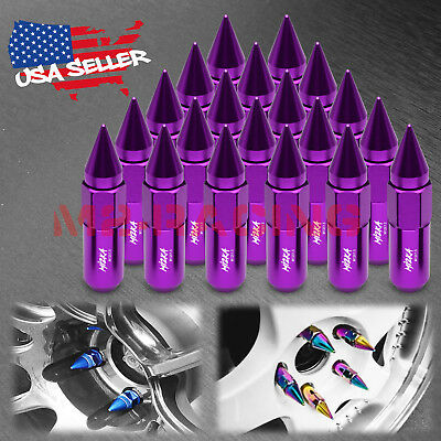 Purple 20 PCS M12X1.5mm Lug Nuts Spiked Extended Tuner Aluminum Wheels Rims Cap