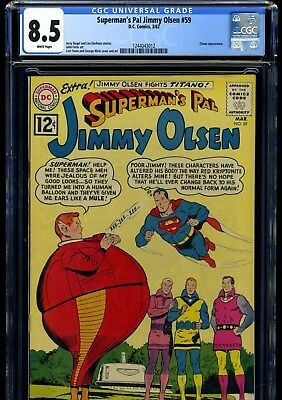Superman's Pal Jimmy Olsen #59 3/62 Cgc Vf+ 8.5 White Pages---Superman Cover