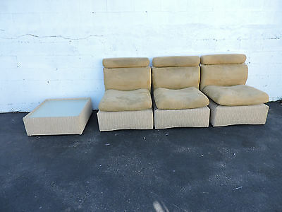 3-Part Sectional Mid Century Hollywood Regency Couch Sofa and Coffee Table 7051
