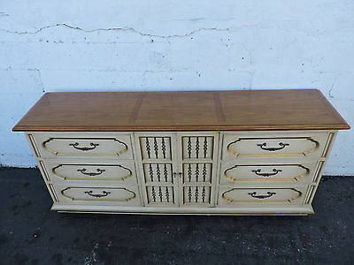 Hollywood Regency Mid Century Long Painted Two Tone Dresser TV Console  8200