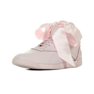 7eda6bd1816e5 Chaussures Baskets Reebok femme F S Hi Satin Bow taille Rose Cuir Lacets