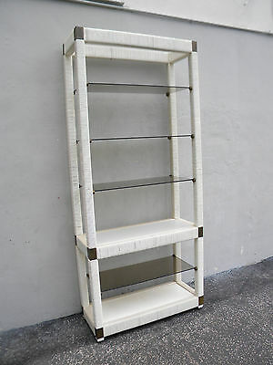 Hollywood Regency Painted Wood and Glass Bookshelf Shelves Display Cabinet 5552