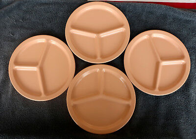 """Lot of 4 Vintage Coral Pink 10"""" Texas Ware Divided Grill Plates ~ Melmac ~ Nice!"""
