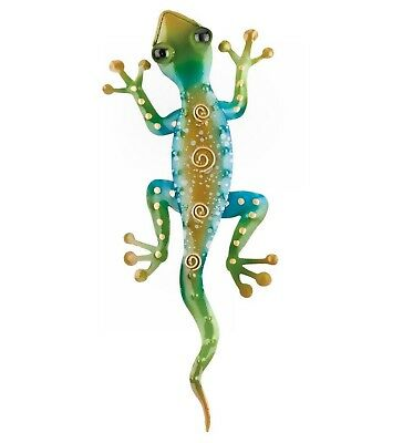 Gecko metal rainbowgreen wall décor Hand painted Tropical Southwest 11 inches