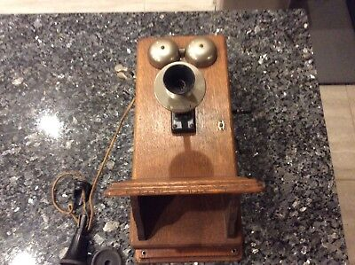 Western Electric Oak Crank Phone Telephone Crank Wind Vintage Wall Wood Antique
