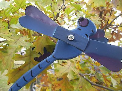 Blue Dragonfly Mini Whirligigs Whirligig Windmill Yard Art Hand made from wood