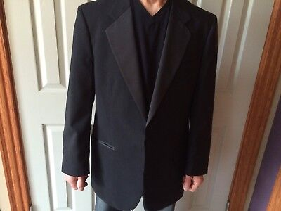 Mens 44R Black Notch Lapel100% Wool 1 Button Tuxedo Flat Pants Suit 36 S Pants