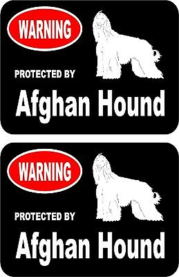 2 protected by Afghan Hound dog car home window bumper vinyl stickers #A