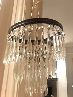 antique icicle crystal waterfall chandelier non electric