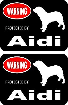 2 protected by Aidi dog car home window bumper vinyl stickers #A