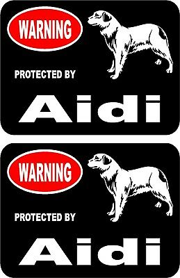 2 protected by Aidi dog car home window bumper vinyl stickers #B