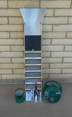 """Back Packers Special  50"""" Folding Aluminum Sluice Box & Gold Pan Kit Green Pans"""
