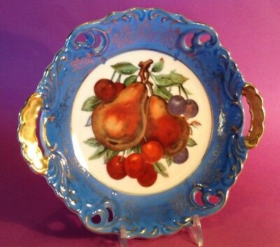 Betsons Handled Bowl - Hand Painted - Blue With Fruit And Gilded Handles - Japan