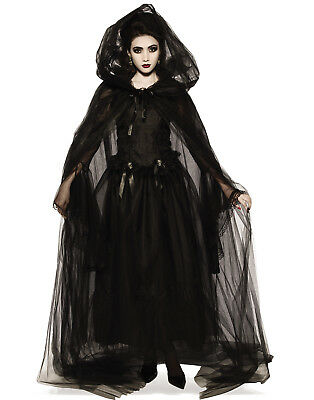 Black Hooded Sheer Adult Women Witches Gothic Hooded Cape Robe