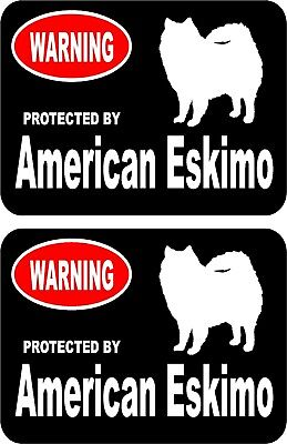 2 protected by American Eskimo dog car home window bumper vinyl stickers #A