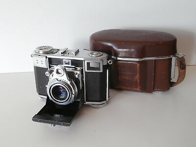 Vintage Zeiss Ikon Contessa 35mm Folding Camera with Case for spares or repair