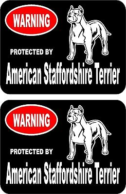 2 protected by American Staffordshire Terrier dog car window vinyl stickers #B