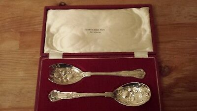 Sheffield silver plated Salad Servers - mint in case