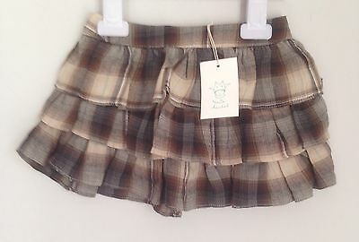 Marie Chantal Design Brown Plaid Girls Tiered Rara Skirt Size 18-24 Months BNWT