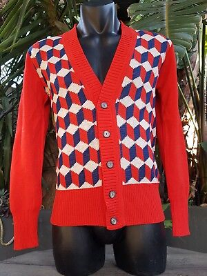 Vintage Classic  Mens Sharpie Cardigan 1970S Milano Fashions Pure Wool Nos