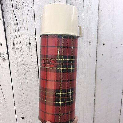 Vintage Plaid Thermos Metal King Seeley Retro Cabin Primitive Decor Scottish