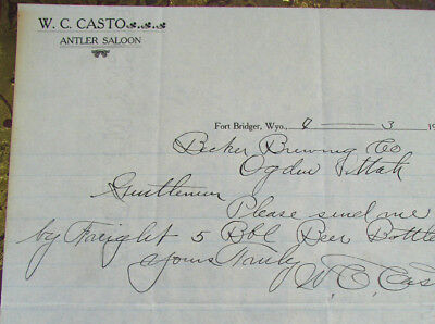 #12 - rare! 1907 old ANTLER SALOON / FORT BRIDGER WY Wyoming letterhead WC CASTO