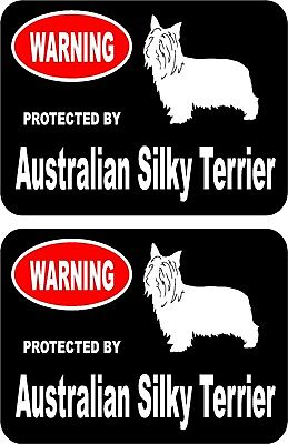 2 protected by Australian Silky Terrier dog car home window vinyl stickers #A