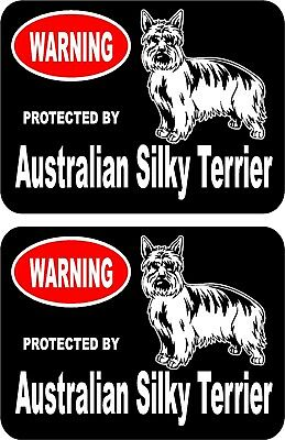 2 protected by Australian Silky Terrier dog car home window vinyl stickers #B