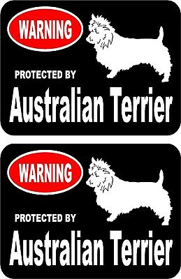 2 protected by Australian Terrier dog car home window vinyl decals stickers #A