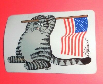 NEW KLIBAN BAD CAT DECAL STICKER CRAZY SHIRTS PATRIOTIC FLAG 4th JULY